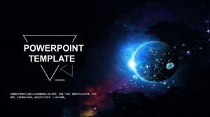 Technology PPT template for beautiful universe planet background