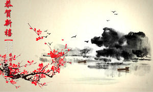 The geese return the Chinese style Spring Festival PPT template download