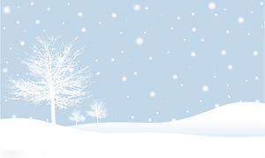Two snowy trees snowflakes elegant PPT background pictures