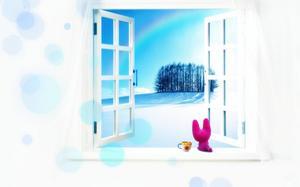 White window cartoon beautiful PPT background image