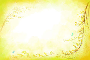 Yellow background foliage border PPT background picture