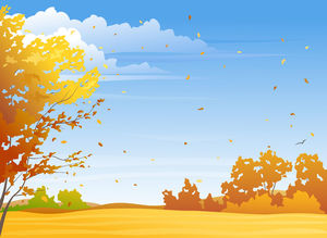 Yellow blue cartoon sky tree PPT background picture