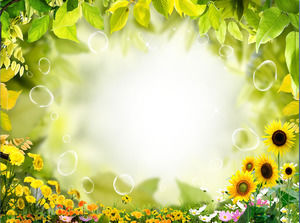 Yellow green leaf border PPT background image