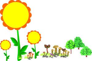 Yellow sunflower cartoon border PPT background image